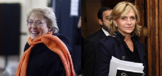 Michelle Bachelet (L) and Evelyn Matthei (R)