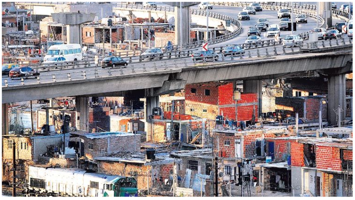 Slums in Buenos Aires, the Argentinean capital that is home to around a third of the national population